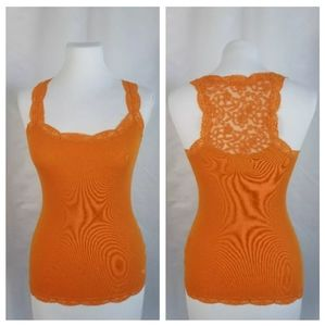 Abercrombie XS Orange Ribbed Tank Mesh Racerback